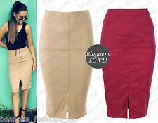 Ladies Women's Celeb Inspire Suedette Bodycon Midi Pencil Slit Panel Skirt 8-14