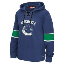 "Vancouver Canucks Reebok NHL ""Team Face Off"" Skate Lace Hooded Sweatshirt"