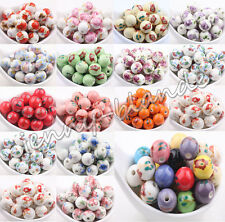 10 20 Round Flower Ceramic Porcelain Loose Spacer Bead Charm Craft Finding 12mm