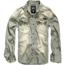 Brandit Hardee Denim Casual Mens Shirt Long Sleeve Washed Travel Cotton Top Grey