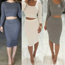Women's Bandage 2 Two Piece Bralet Crop Top and Skirt Bodycon Party Outfit Dress