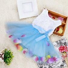 Baby Girls Princess Summer Lace Floral Tulle Tutu Skirt Dresses+White Vest A72