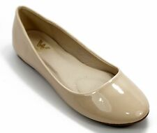 NEW Women Casual Patent Leather Ballet Flat Shoes Size 6 - 10, (Nude Color)