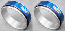 R083P Stainless Steel Spin Ring Men Fashion Blue You Pick Ring Size