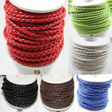 New 3Meter Pure Hand-Woven Braided Leather Cord Make Necklace Or Bracelet 3mm