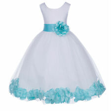 WHITE ROSE PETAL WEDDING BIRTHDAY PAGEANT FLOWER GIRL DRESS S M 2 4 6 8 10 12 14