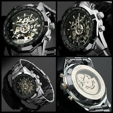 Steampunk Skeleton Automatic Mans Steel Auto Self-Winding Mens Mechanical Watch