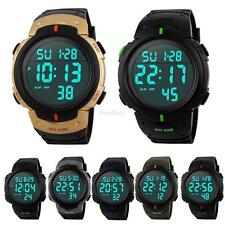 Men's Alarm LCD Digital Stopwatch Date Rubber Sport Wrist Watch Waterproof Watch
