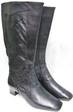 SALE K SHOES BY CLARKS LADIES LILTON CIDER BLACK LEATHER EE WIDE KNEE HIGH BOOTS