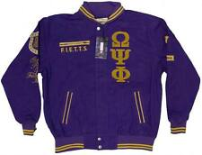 New! Mens Omega Psi Phi Fraternity Inc. Racing Style Jacket - Purple & Gold