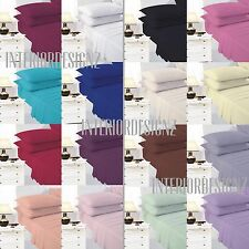 New Easycare Plain Dyed Fitted Bed Sheet Combed Polyester Cotton All Sizes