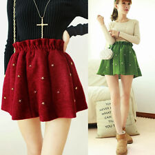 Newly Women's Korean Style A- Line Dress Mini Woolen Bubble Skirt Short Rivet