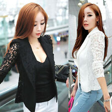 Career OL Women Lapel Blazer Coat Lace Crochet Slim Suit Jacket Coat Outwear C43