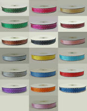 various colours Grosgrain ribbon with saddle stitch 10mm x 1 metre Sample length