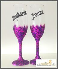 Personalised 21st Birthday Gifts Leopard Print Glitter Champagne Wine Glass 18th