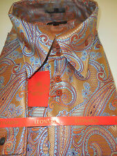 Mens Copper Brown Intricate Paisley Ultra High Collar Leonardi Shirt Style 342
