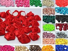 DIY10/50/100PCS Satin Glitter Satin Ribbon Rose Flower Wedding Appliques Craft~