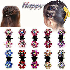 Girls Cute Crystal Rhinestone Flower Mini Hair Claws Clips Pin Clamps 12pcs New