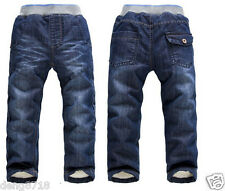 New Kids Baby Boys Girls Winter Fleece Denim Pants Thick Trousers Children Jeans