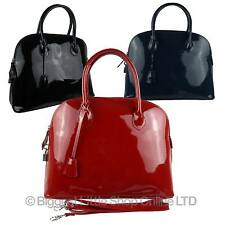 NEW Ladies Italian LEATHER Grab BAG by London Fashion Bags GIFT Classic Patent