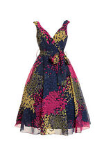 KUSHI NAVY/PINK/MULTI RETRO 1950s STYLE PARTY MIDI DRESS - PLUS SIZES 10 - 20