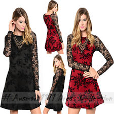 Floral A Line Skater Black Mesh Long Sleeve Formal Evening Cocktail Party Dress