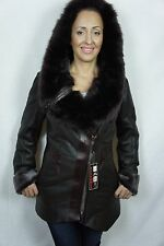 Brown 100% Real Shearling Sheepskin Leather Toscana Hood Jacket Coat S-3XL, NWT