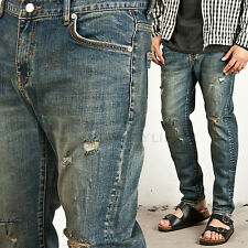 New NS Mens Fashion Casual Bottom Wear VINTAGE DISRESSED WASHING STRAIGHT JEANS