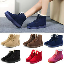 Womens Boots Flat  Ankle Lace Up Fur Lined Winter Warm Martin Snow Fur Shoes