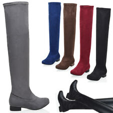 NEW WOMENS LADIES LOW HEEL THIGH HIGH OVER THE KNEE STRETCH RIDING BOOTS SIZE