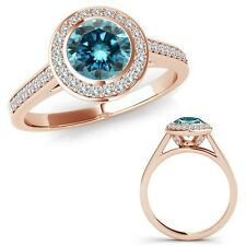 1.25 Carat Blue Diamond Fancy Halo Channel Anniversary Band Ring 14K Rose Gold