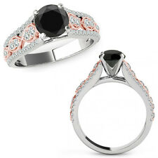 1 Ct Black Diamond Lovely Solitaire Halo Anniversary Ring Band 14K Rose Two Gold