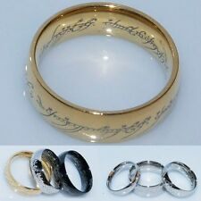 Stainless Steel Lord of the Rings The One Ring Bilbo's Hobbit Gold Aragorn Ring