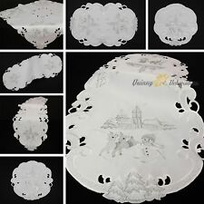 Snowman Table runner Doily Tablecloth White Silver Reindeer Embroidery Christmas