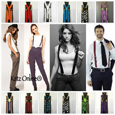 Adjustable Slim Unisex Men Ladies Trouser Braces Suspenders Clip On Fancy Dress