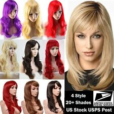 "USA Stock 23"" Medium Full Wig Ombre Blunt Bangs Layered Wavy Heat Resistant Wigs"