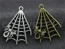 5/20/100pcs Tibetan Silver Exquisite Two-Sided Cobweb Charms Pendant DIY 32x23mm