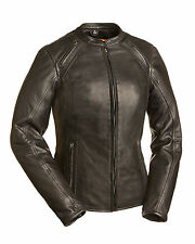 FMC Ladies Black Leather Scooter Motorcycle Jacket Mandarin Collar, FIL106CCBZ