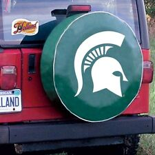 Michigan State Tire Cover with Spartans Logo on Green Vinyl