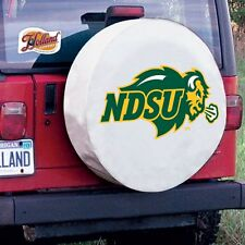North Dakota State Tire Cover with Bison Logo on White Vinyl