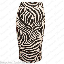 New Ladies Womens Zebra Print Pencil Bodycon Elasticated Waist Midi Skirt SM ML
