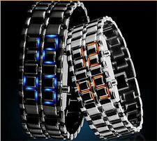 New Fashion Men Lava Samurai Binary LED Watch Steel Digital Sport Wrist Watch