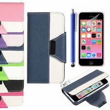 Luxury Magnetic Flip Cover Stand Wallet Leather Case For Apple iPhone 5C Gifts