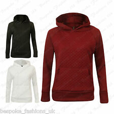 New Ladies Women's Long Sleeve Hooded Quilted Sweatshirt Jumper Top With Pockets
