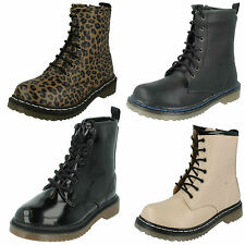 SALE GIRLS CUTIE SHOES DOC STYLE CASUAL LACE UP ZIP NUDE BLACK ANKLE BOOTS H3014