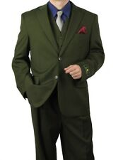 Promotion! Sharp 3pc Men 2B. Dress Suit Expandable Waist Olive 36S-48L tb31