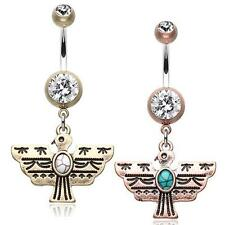 Vintage Boho Aztec Thunderbird Mural Belly Ring Brass Clear Copper Turquoise