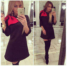 Autumn Sexy Women Long Sleeve Bowknot Bodycon Clubwear Cocktail Party Mini Dress