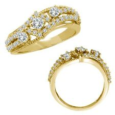 0.75 Carat G-H Diamond Beautiful Three Stone Wedding Bridal Band 14K Yellow Gold