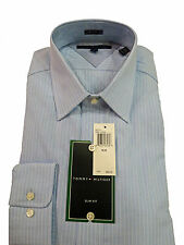 Tommy Hilfiger Dress Shirt, Blue, Slim Fit, 100 %Cotton, Spread Collar,